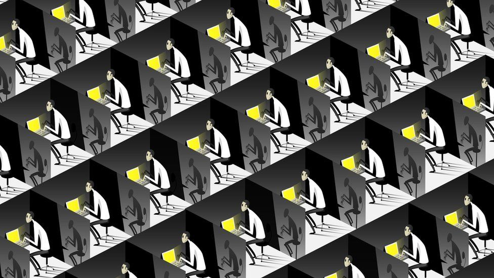 An illustration of lots of workers in identical tiny offices