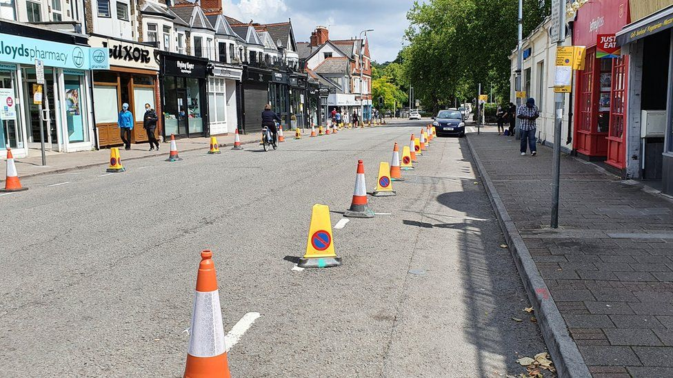 Cones have been placed along Wellfield Road