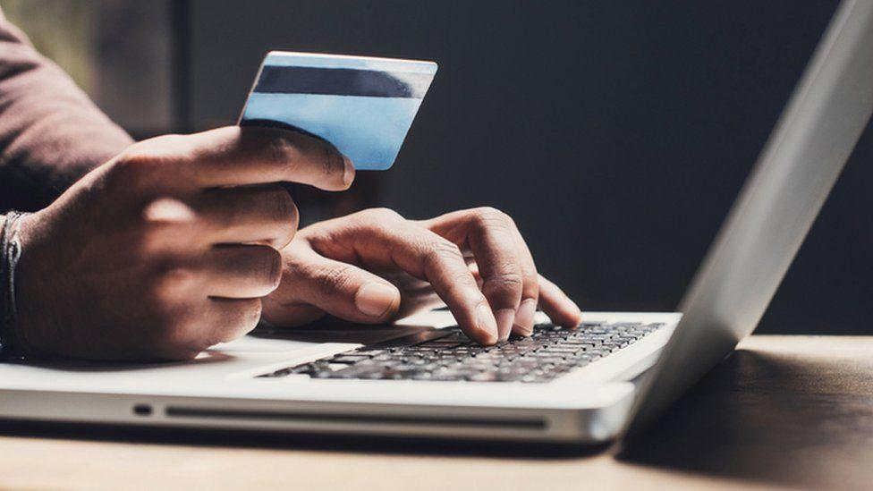 Man making purchase online