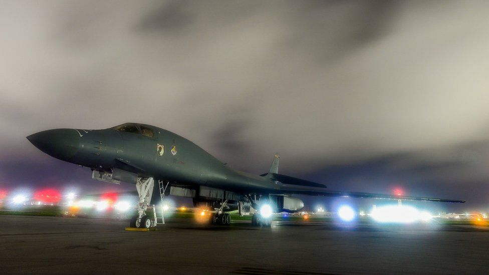 A US Air Force B-1B Lancer bomber sits on the runway at Andersen Air Force Base, Guam July 18, 2017
