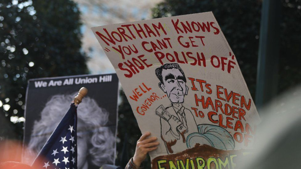 Protestors rally against Virginia Governor Ralph Northam outside of the governors mansion in downtown Richmond, Virginia on February 4, 2019.