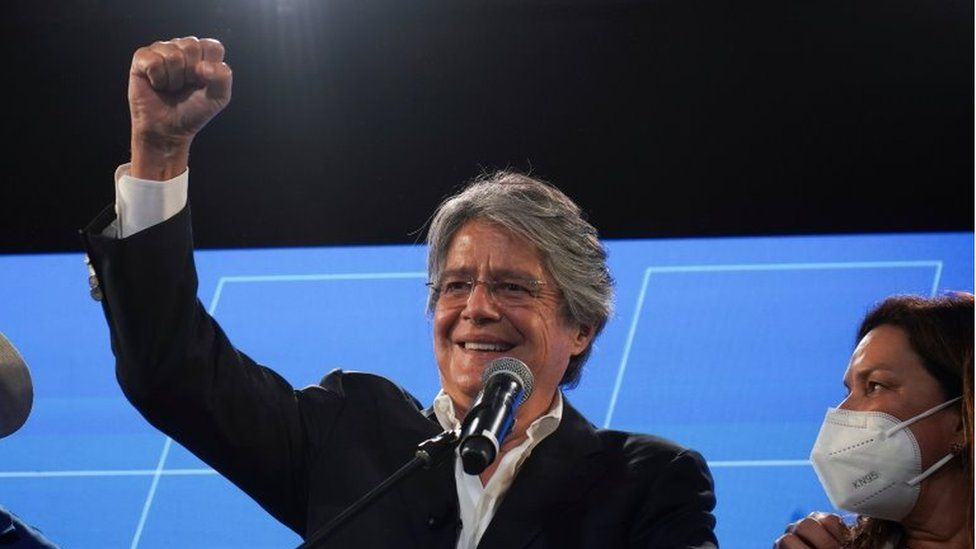 Guillermo Lasso gestures at a news conference during the presidential election, in Guayaquil, Ecuador February 7, 2021
