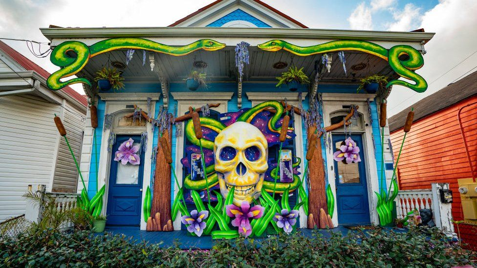 Home decorated to honour musician Dr. John, whose decorations are sponsored by Krewe of Red Beans, on January 24, 2021 in New Orleans, Louisiana.