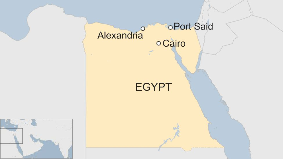 Map shows the location of Alexandria, Port Said and Cairo, Egypt
