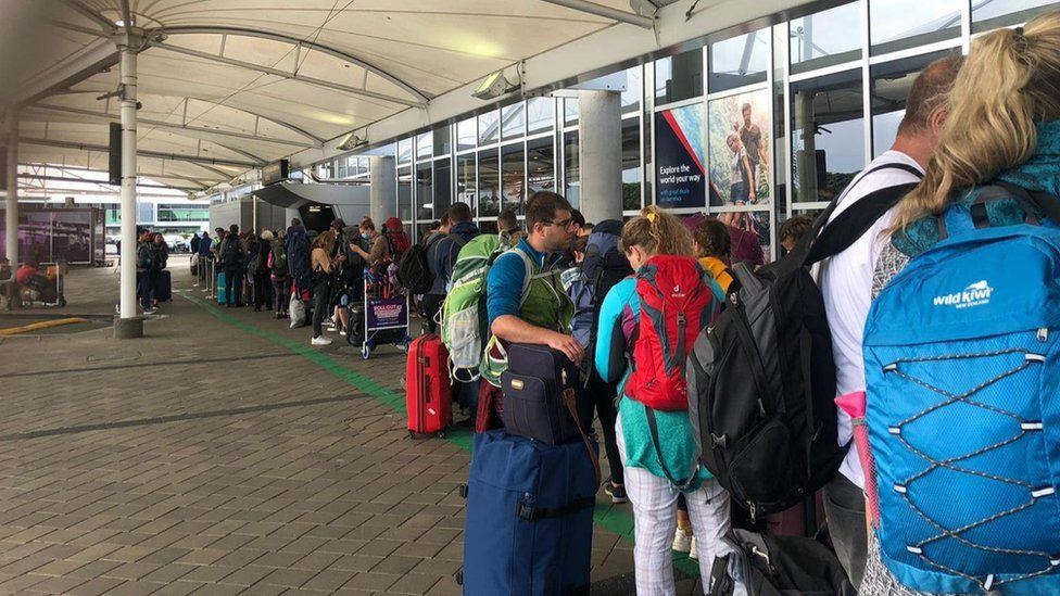Auckland Airport on Tuesday morning as flights were cancelled