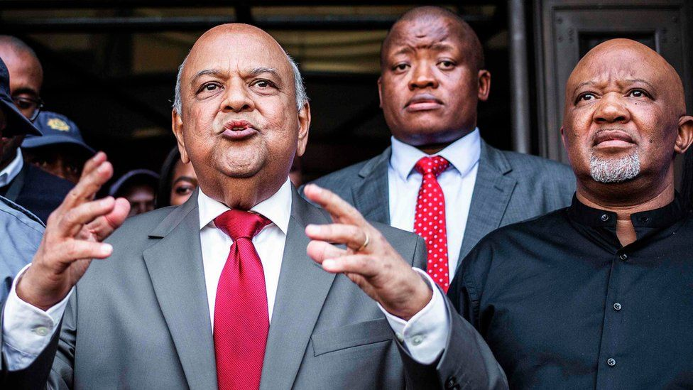 Former South African Finance Minister Pravin Gordhan (centre) and his deputy Mcebisi Jonas (right) 31/03/17