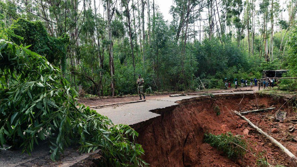 A road destroyed by Cyclone Idai in Chimanimani, Zimbabwe