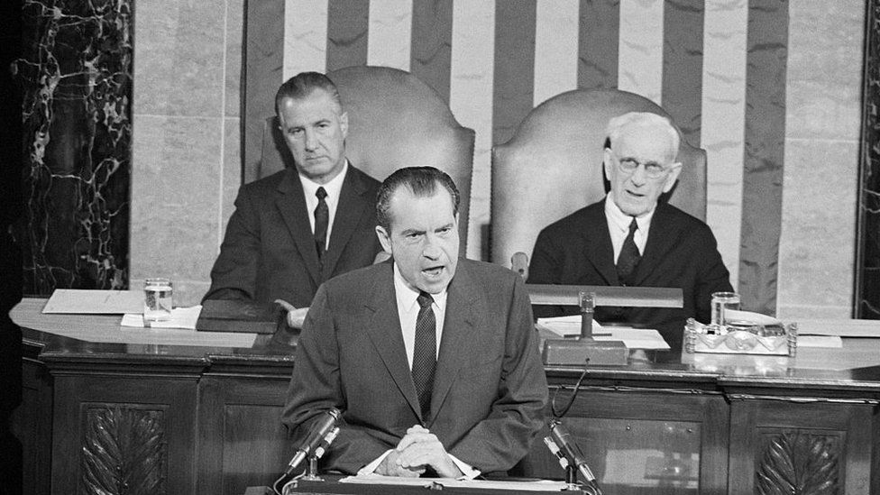 President Nixon calls for more spending on crime prevention in a 1970 speech to Congress