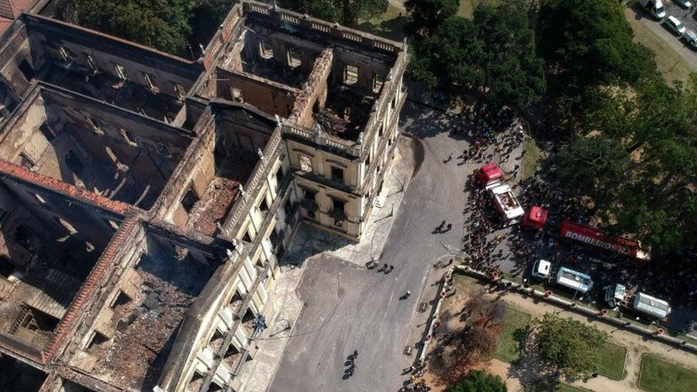 An aerial photo of the gutted museum