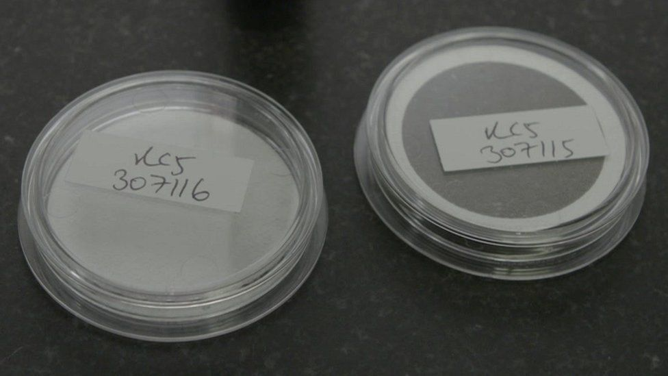 New filter on left, used filter on right