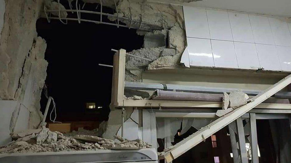 Damage caused to a building in Damascus