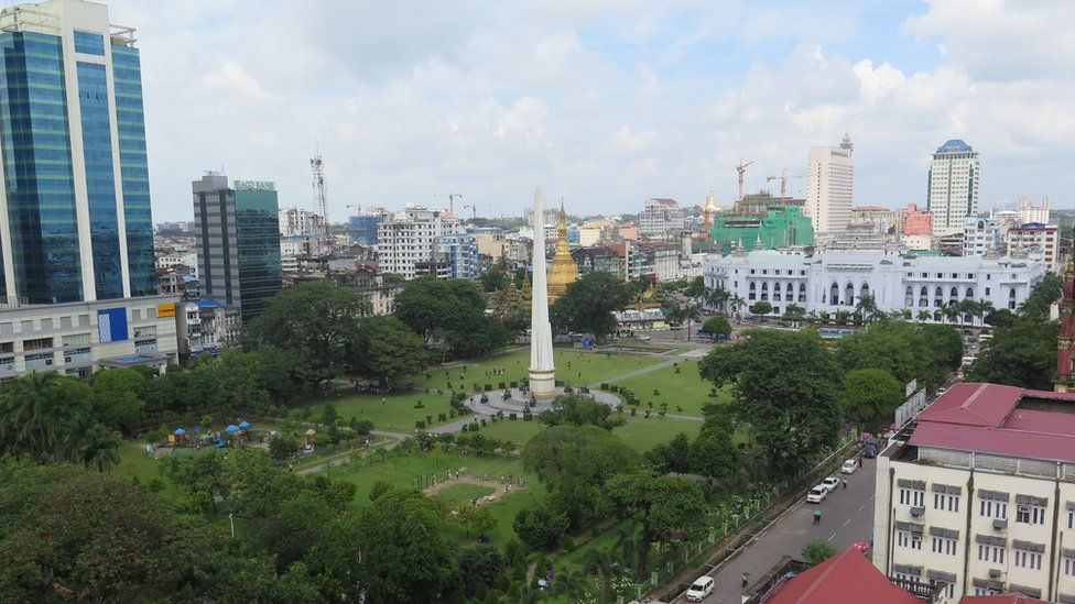 View over Mahabandoola Park, Yangon