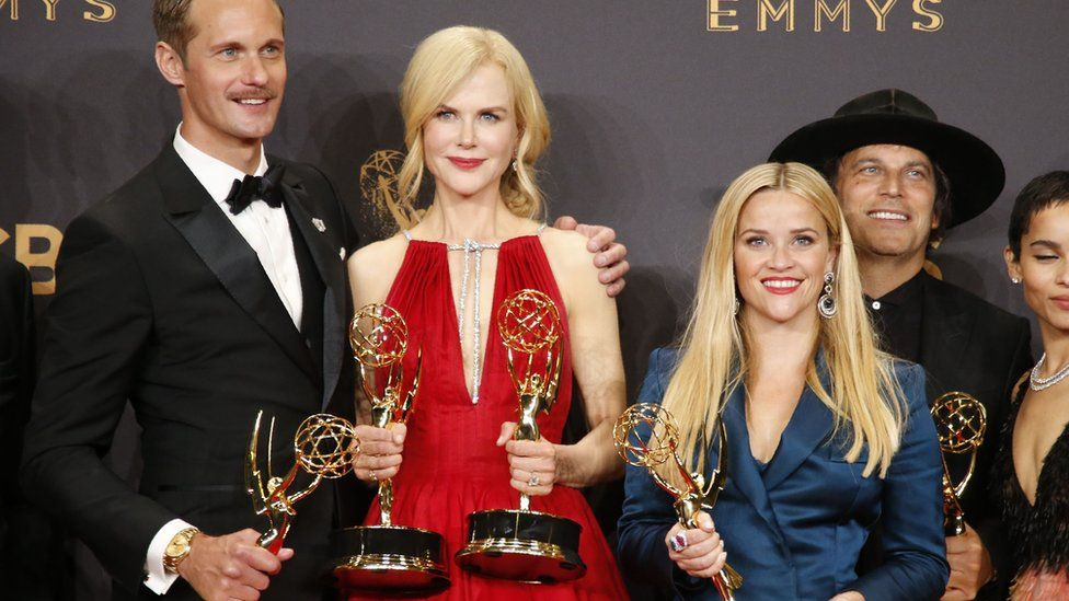 Alexander Skarsgard, Nicole Kidman, Reese Witherspoon and other members of the Big Little Lies team pose with their Emmy for outstanding limited series