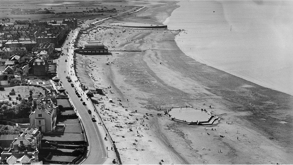 An aerial view of the esplanade and the beach, Burnham-on-Sea, Somerset, taken in August 1932