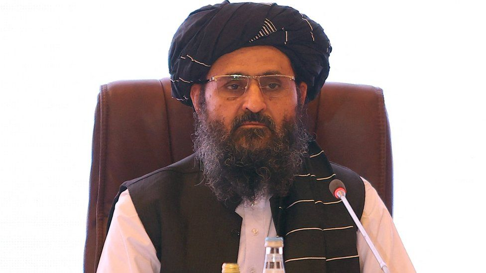 The leader of the Taliban negotiating team Mullah Abdul Ghani Baradar looks on during the final declaration of the peace talks between the Afghan government and the Taliban is presented in Qatar's capital Doha on July 18, 2021
