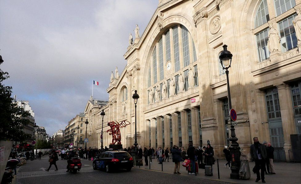 The historic facade of the Gare du Nord train and metro station in Paris, December 2019