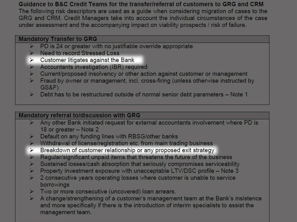 A document obtained by BBC Newsnight relating to RBS