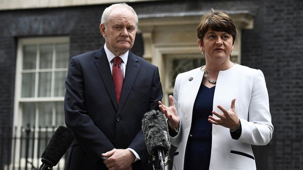 Foster and McGuinness leave Downing Street in London