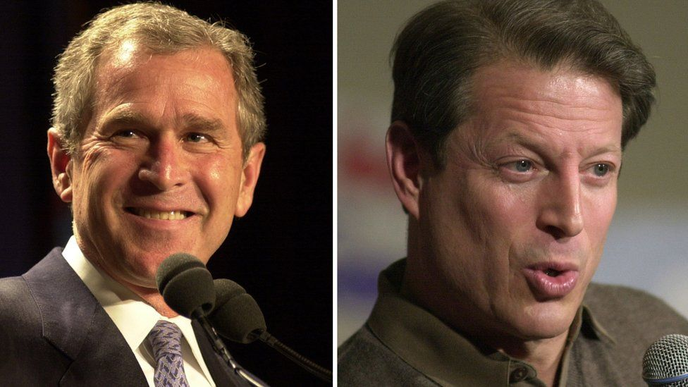 US Presidential Candidates George W Bush (left) and Al Gore in 2000