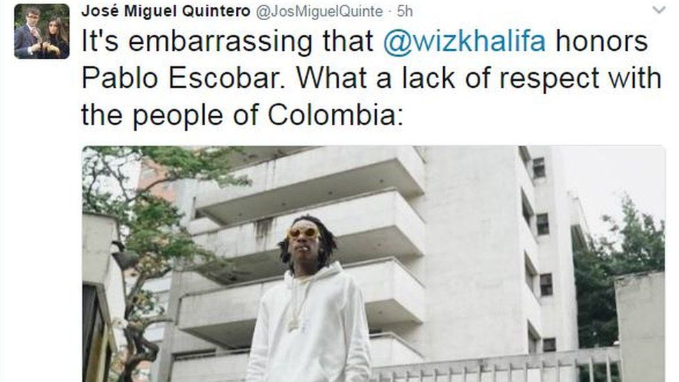 """Tweet by Jose Miguel Quintero reading: """"It's embarrassing that @wizkhalifa honors Pablo Escobar. What a lack of respect with the people of Colombia"""""""