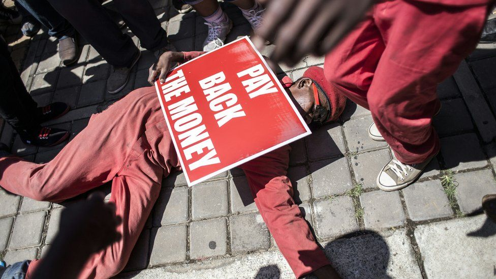 Thousands of South African opposition Economic Freedom Fighter (EFF) supporters, march towards the constitutional court where judges heard a case over public money spent on President Jacob Zuma's private house on February 9, 2016