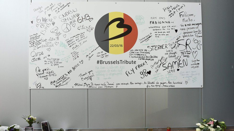 Messages of condolences left by Brussels Airport staff to the victims of twin suicide attacks