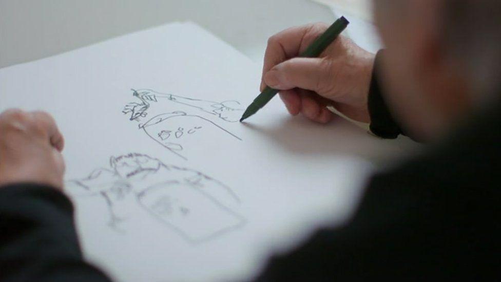Quentin Blake drawing Mrs Pratchett