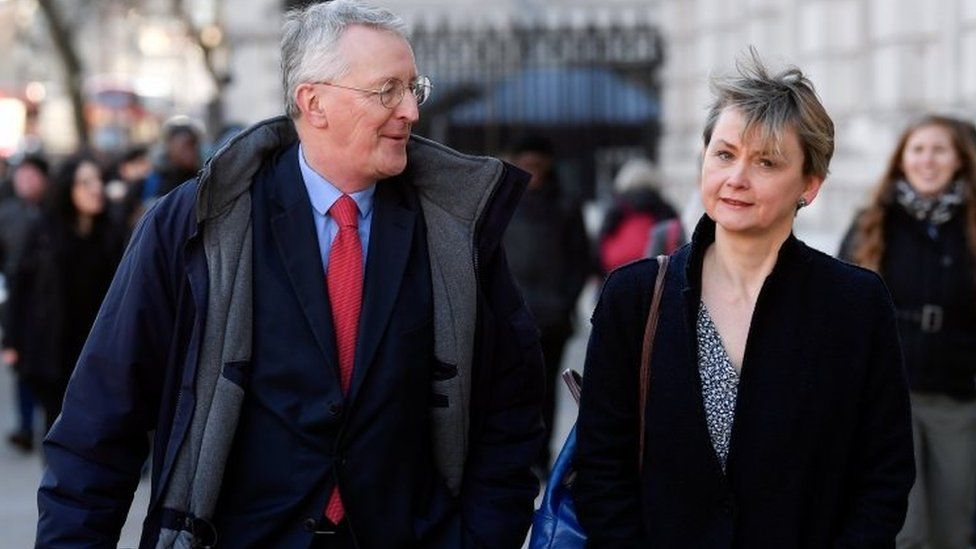 Labour MPs Yvette Cooper and Hilary Benn