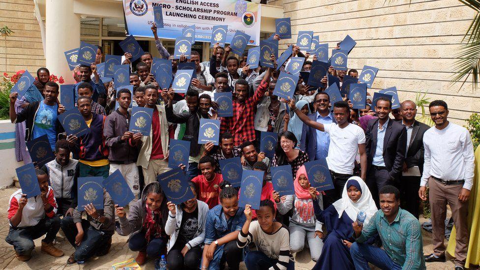 Group of students at US embassy