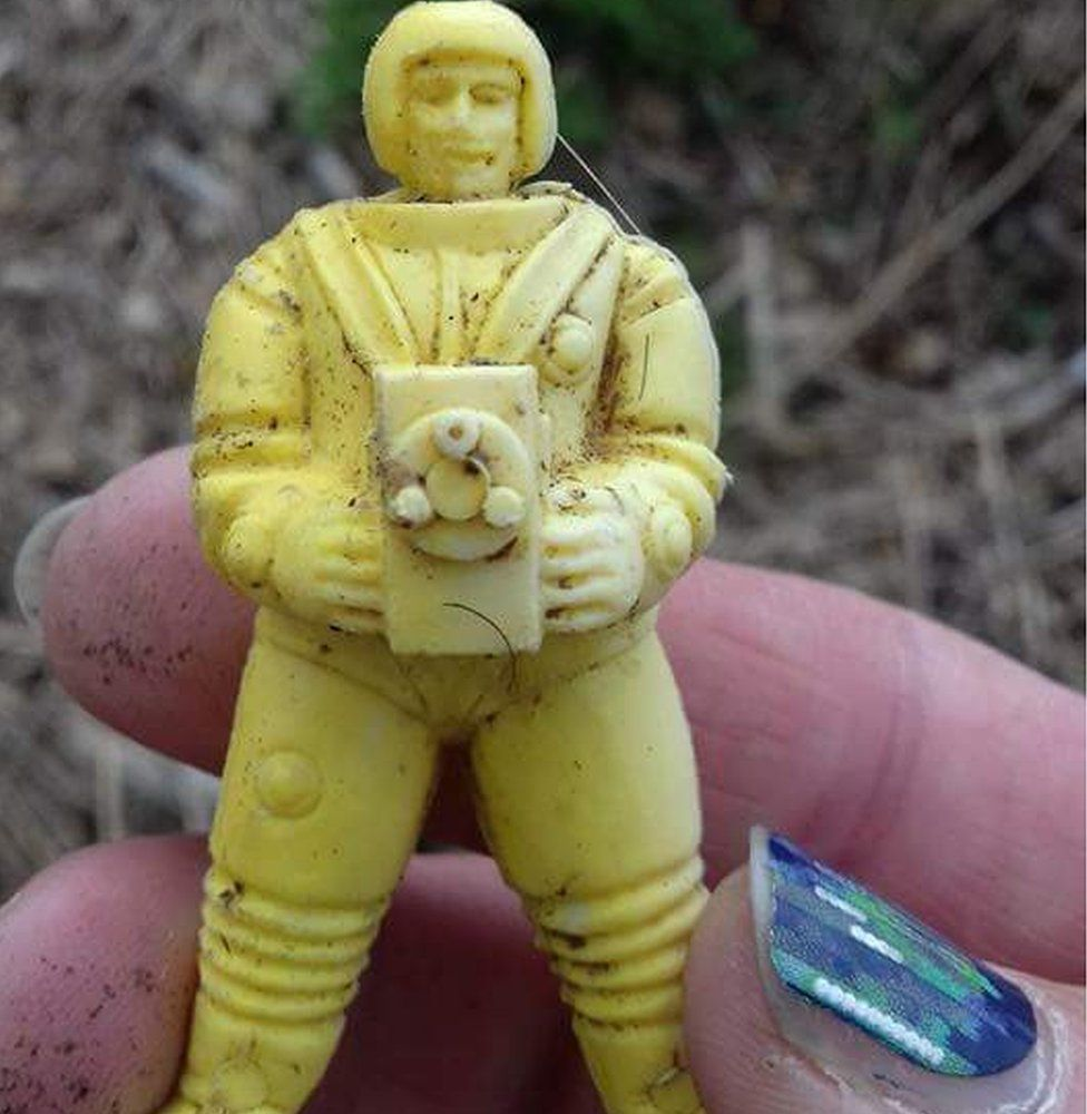 Plastic figure found on beach from 1959 cereal box