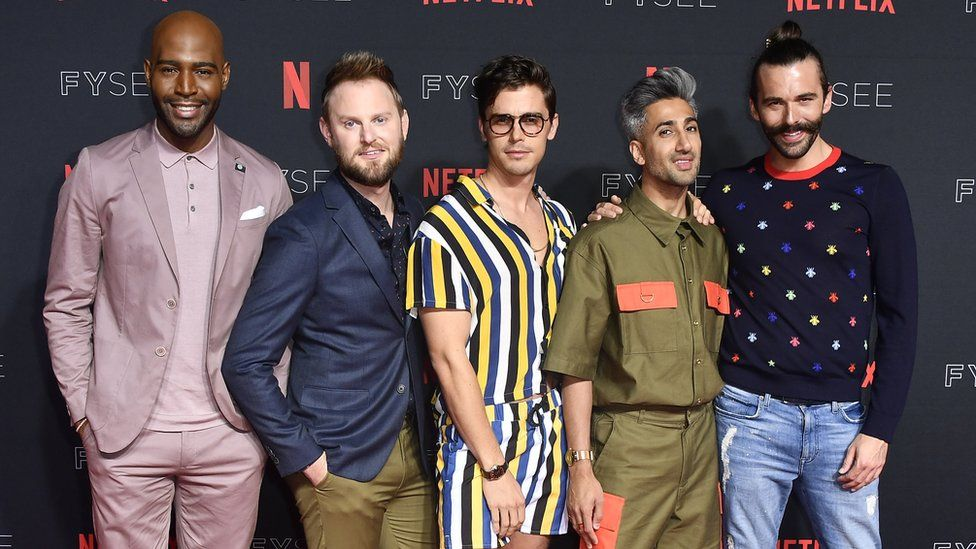 The five cast members of Queer Eye pose on LA red carpet