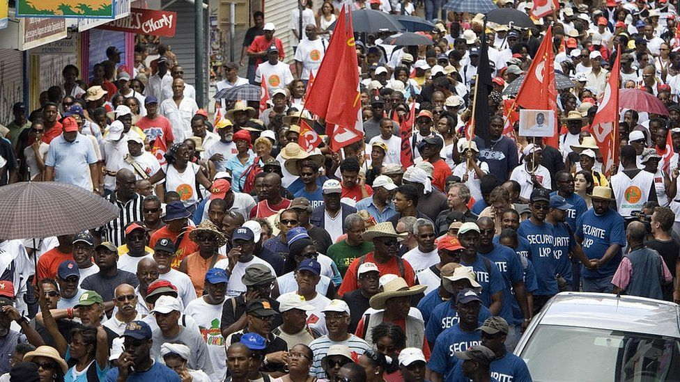 People protest in Pointe-a-Pitre, Guadeloupe in 2009