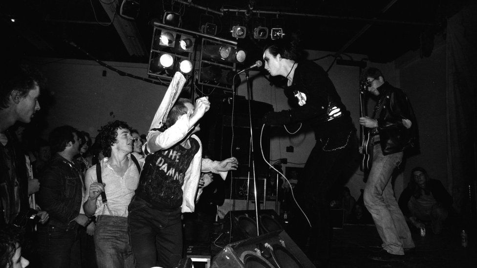 Dave Vanian and Captain Sensible of The Damned on stage at Leeds Polytechnic