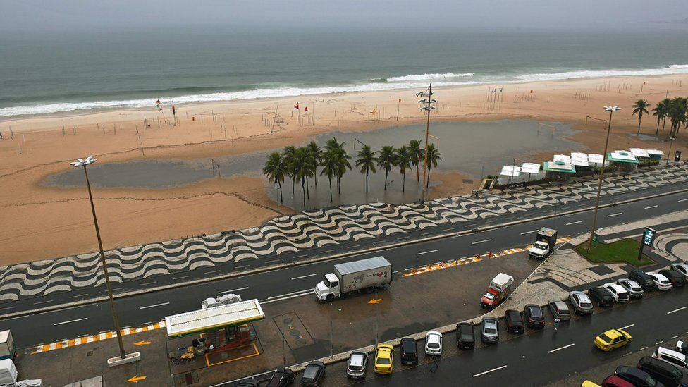View of a flooded section of Copacabana beach