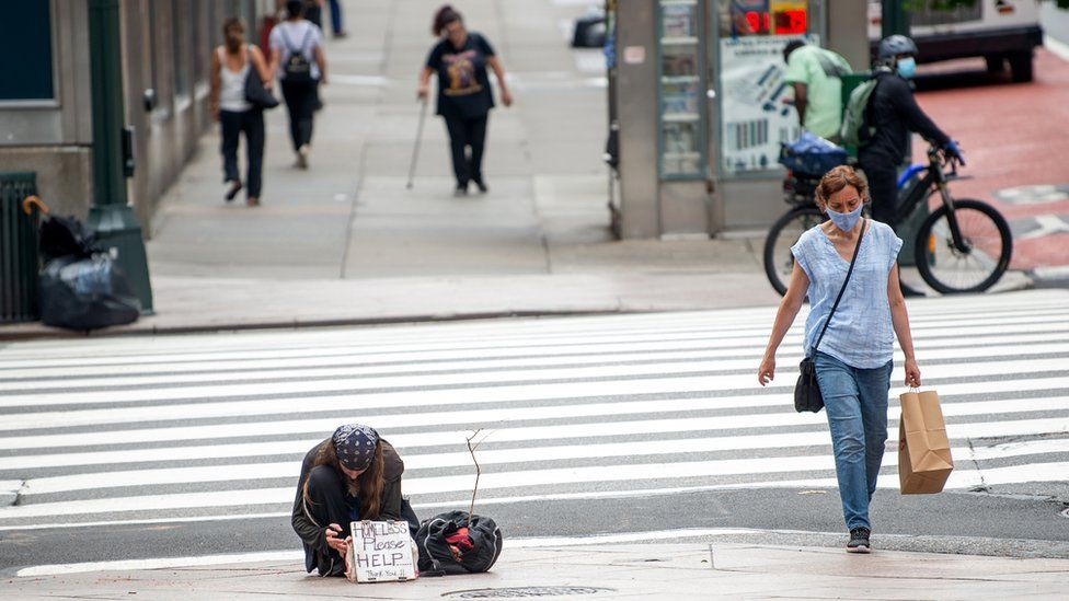 A homeless man in New York