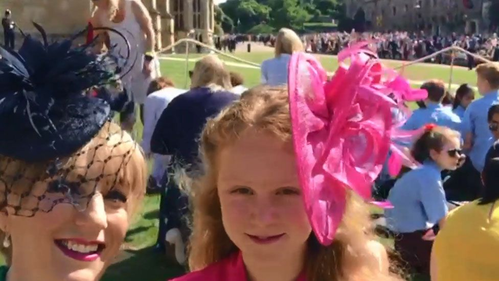 Susan and Lily Hey in the grounds of Windsor Castle on Saturday