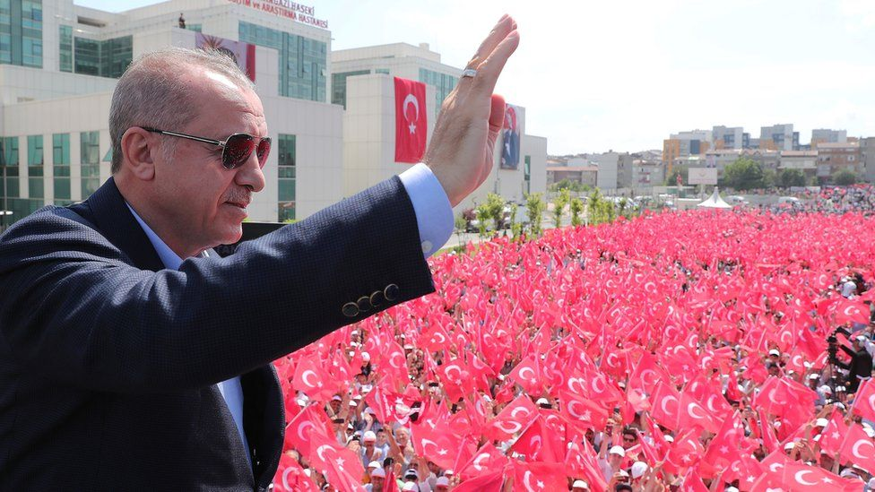 President Recep Tayyip Erdogan during a visit to Istanbul on 18 June