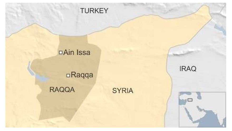Map showing Ain Issa and Raqqa in Syria