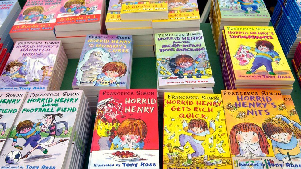 Horrid Henry books for sale at The Guardian Hay Festival, Hay on Wye Powys Wales