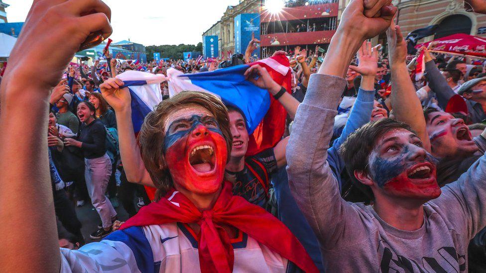 Russian fans celebrating