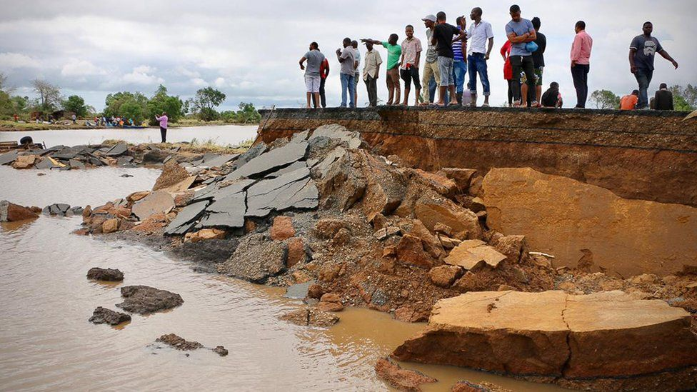 Washed-away section of road near Beira