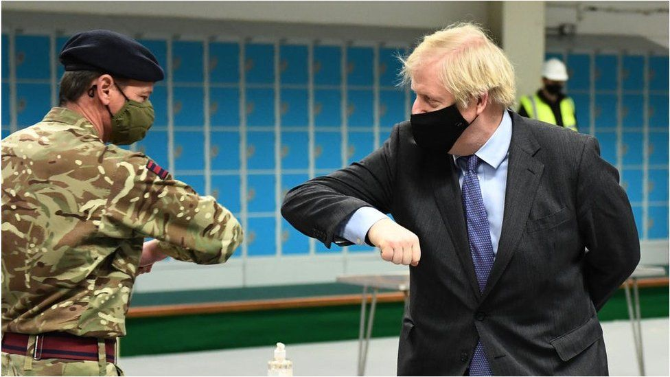 Boris Johnson at a vaccination centre