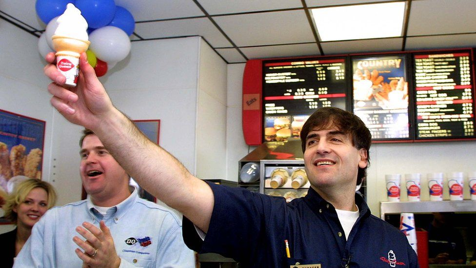 Mark Cuban working at a Dairy Queen