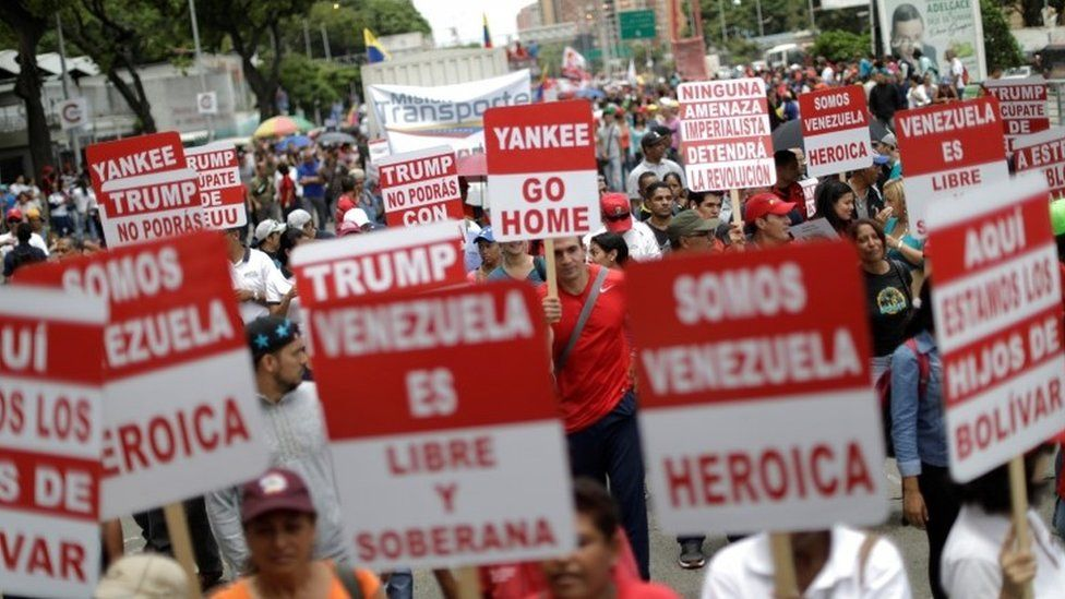 Pro-government supporters attend a rally against US President Donald Trump in Caracas, Venezuela August 14, 2017.