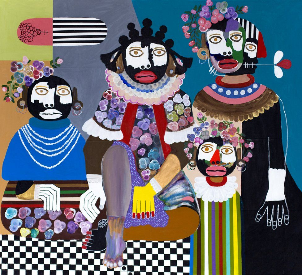 A painting of four figures