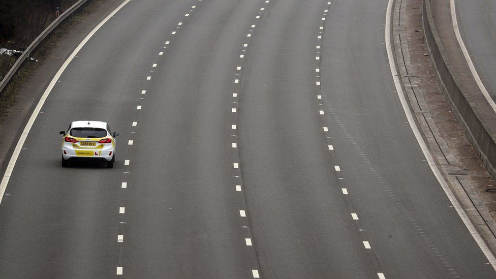A solitary car on the M3 motorway