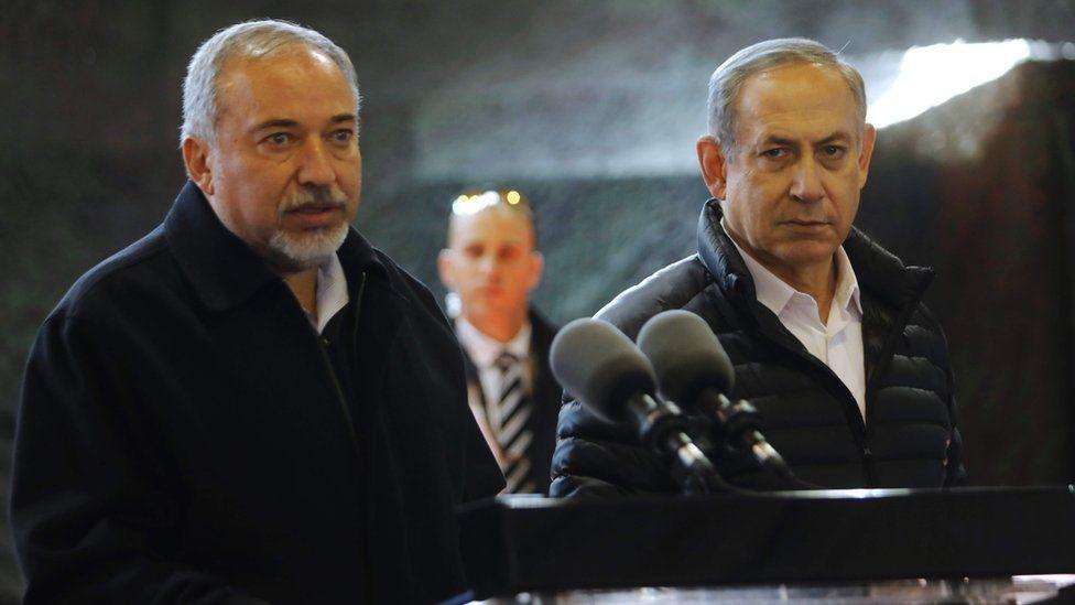 Defence Minister Avigdor Lieberman and Prime Minister Benjamin Netanyahu in Beit El on 10 January 2017