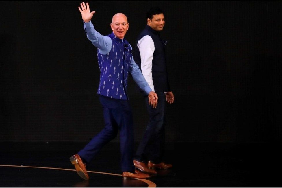 Jeff Bezos, founder of Amazon, attends a company event in New Delhi, India, January 15, 2020