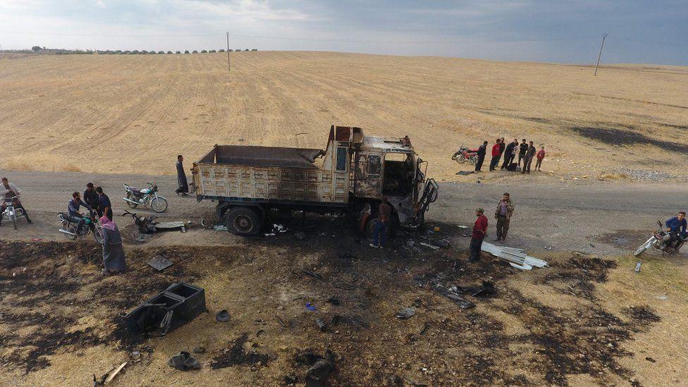 The site where IS spokesman Abu Hassan al-Muhajir was killed
