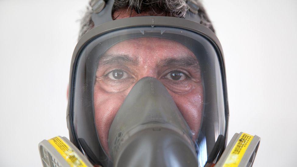 Donovan Tavera in his protective goggles
